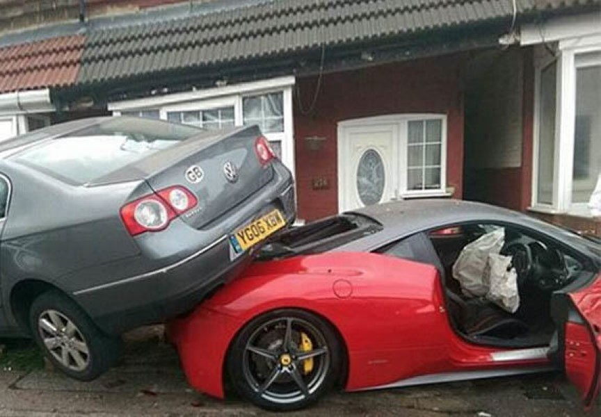 Man Hires 350k Ferrari For Wedding Instantly Smashes It