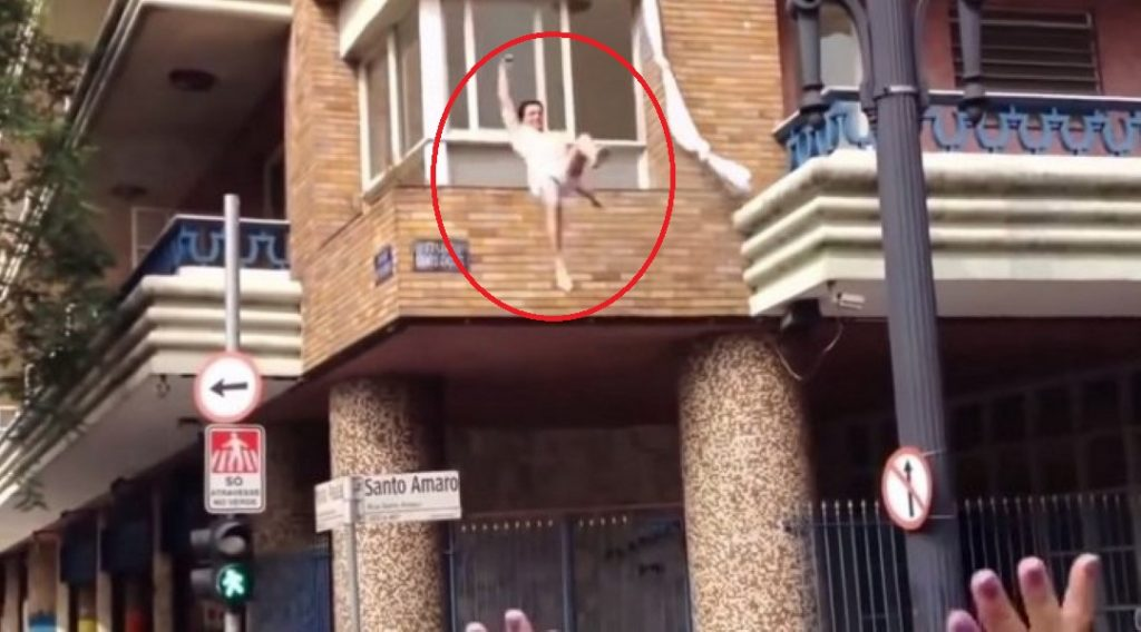 Man catches wife cheating; lover filmed jumping out of windo.