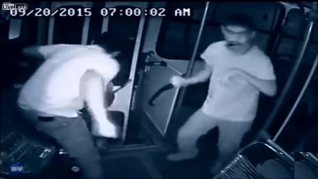 Handicapped Man Fights Bus