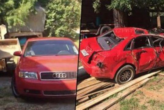Dad crushes Audi
