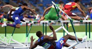 Olympic hurdler falls