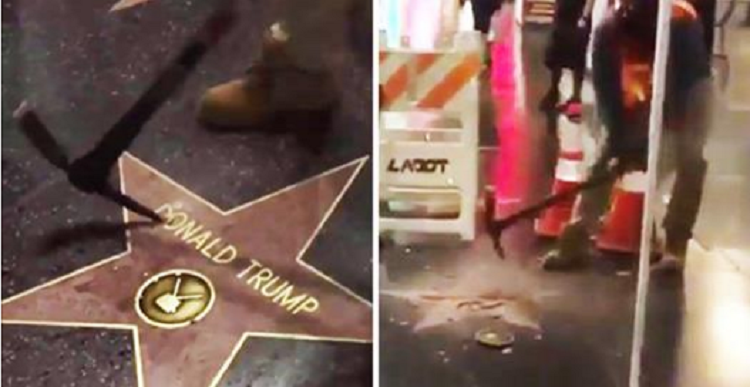 Guy Totally Destroys Donald Trump's Hollywood Walk Of Fame ...