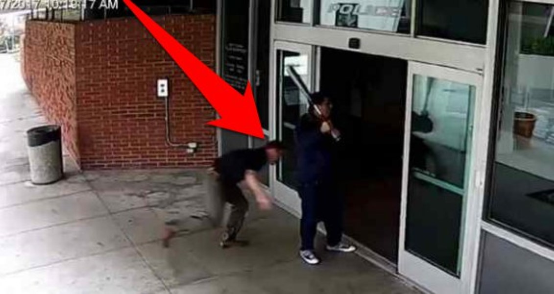 Cop Tackles Man Baseball Bat (1)